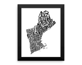 New England typography map art FRAMED print customizable personalized custom state poster wall decor engagement wedding housewarming gift