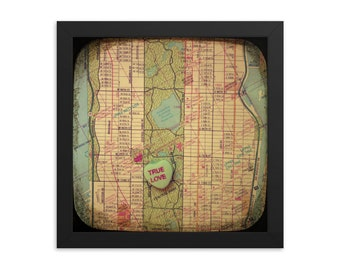 FRAMED Map art true love central park manhattan new york city candy heart photo custom engagement wedding anniversary gift personalized wall