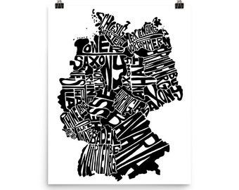 Germany typography map art unframed print customizable personalized custom map poster wall decor housewarming gift home decor