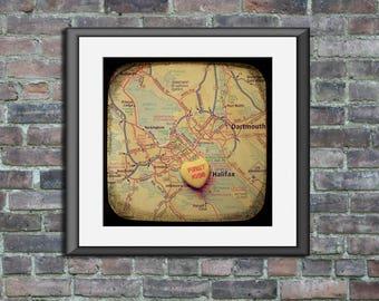 Map art print first kiss halifax nova scotia candy heart unframed photo print custom engagement wedding anniversary gift nursery wall decor