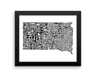 South Dakota typography map art FRAMED print customizable personalized state poster custom wall decor engagement wedding housewarming gift