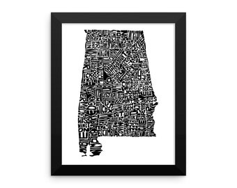 Alabama typography map art FRAMED print customizable state poster personalized wall art home decor