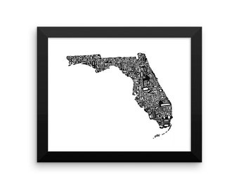 Florida typography map art FRAMED print customizable state poster wedding engagement graduation gift anniversary personalized wall decor