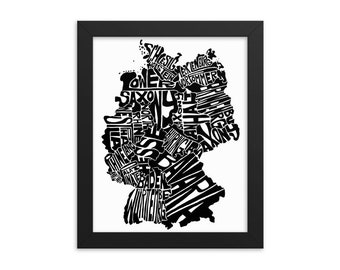 Germany typography map art FRAMED print customizable personalized custom map poster wall decor housewarming gift home decor