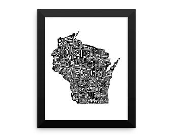 Wisconsin typography map art FRAMED print customizable personalized state poster custom wall decor engagement wedding housewarming gift