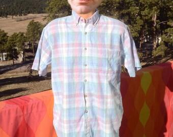 vintage 80s shirt PLAID madras pastel short sleeve flyshacker fish button down Medium Large preppy