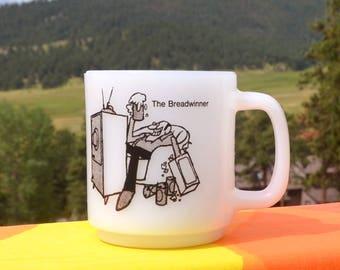 70s vintage milkglass mug BREADWINNER coffee cup bread winner wtf 1972 jeannette
