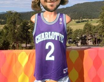 vintage 90s charlotte HORNETS basketball jersey larry JOHNSON 2 nba 44  Large champion purple 1914d46d7