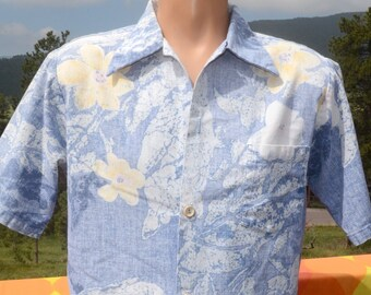 b73feb9d vintage 60s shirt HAWAIIAN surf line reverse print aloha Large Medium 70s
