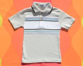 ef2e05d9a vintage 80s kid polo golf shirt FOX stripe children 5 Small preppy surf