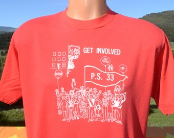 168c8f2ac vintage 80s t-shirt CHELSEA PREP ps 33 new york school nyc tee Large Medium