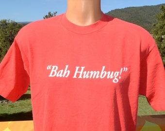 02fca9ea7 vintage 80s t-shirt BAH HUMBUG christmas crazy xmas Large Medium red funny  scrooge