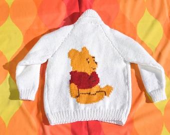 70s vintage kid cowichan sweater WINNIE pooh knit jacket children Medium