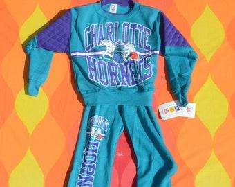 vintage 90s new kid sweatshirt CHARLOTTE HORNETS nba sweatpants set nwt deadstock 10 Medium
