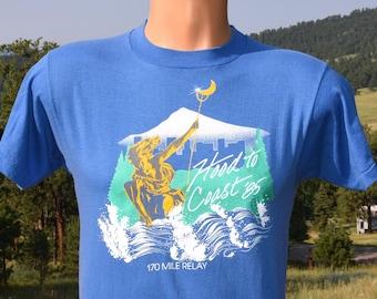 vintage 80s t-shirt HOOD to COAST 1985 relay race oregon tee Medium Small