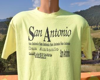 vintage 90s neon t-shirt SAN ANTONIO texas party tee Large
