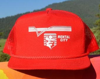 vintage 80s snapback trucker hat RENTAL CITY cowboy red twill 90s baseball  cap c6a02ebe5bd4