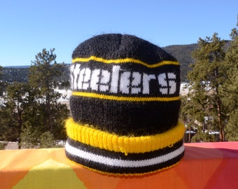87f120382d9 vintage 80s ski hat pittsburgh STEELERS football nfl beanie winter