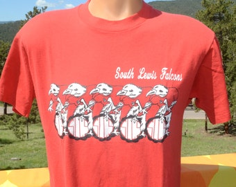 f5775001f vintage 80s t-shirt SOUTH LEWIS central school falcons tee Medium Large  screen stars
