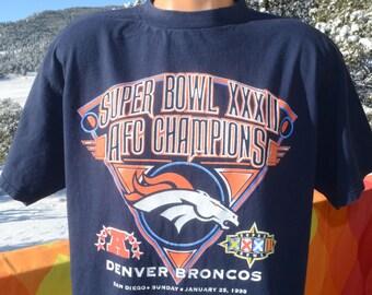 5ece7d53b vintage 90s t-shirt denver BRONCOS nfl football super bowl 32 tee XL