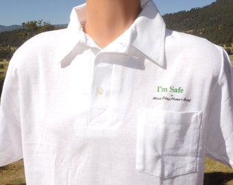 11631c9b vintage 80s polo golf shirt I'M SAFE work play home away pocket Large white  screen stars wtf new