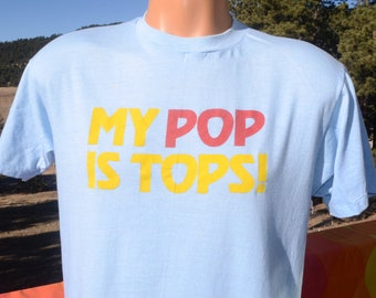 bcaa2659a33e8 vintage 80s t-shirt my POP is TOPS father s day dad funny soft thin tee  Medium Large 70s