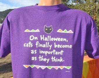 5c44e376e vintage 80s t-shirt CAT halloween important funny tee XL Large purple