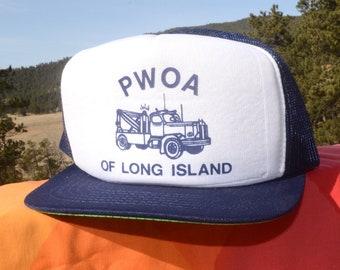 85bdd54e442 ... closeout 80s vintage trucker mesh hat pwoa tow truck wrecker long  island snapback baseball cap rockstar