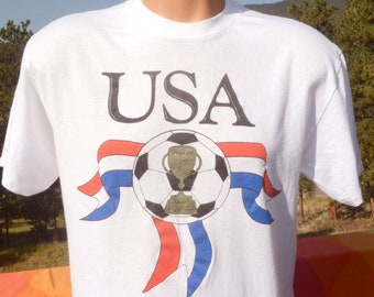 ff372030a vintage 90s t-shirt WORLD CUP soccer tournament 1994 usa futbol tee Large  Medium