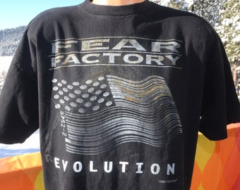 a3d846f95 vintage 90s t-shirt FEAR FACTORY metal band hard rock black tee XL Large  obsolete