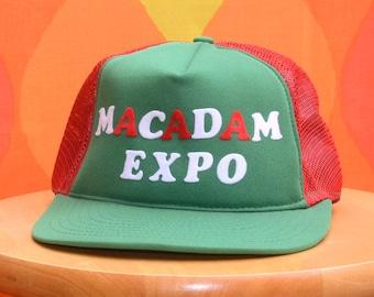 462ffc39c3fe0 70s vintage trucker hat MACADAM expo flock 80s snapback mesh baseball cap  wtf