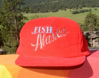 6a874192 vintage 80s corduroy hat FISH ALASKA cord trucker baseball cap red