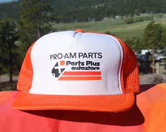 a710cac3c1def0 80s vintage snapback trucker mesh hat PRO-AM AUTO parts baseball cap two  tone
