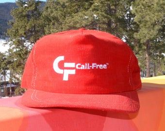 ed9ff9b9198b10 vintage 80s corduroy hat CALL-FREE cord trucker snapback baseball cap red.  skippyhaha