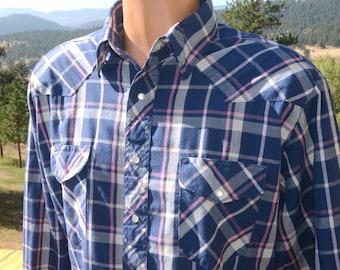 06d86672 vintage 80s western shirt RUSTLER plaid navy blue pearl snaps Large cowboy  rockstar