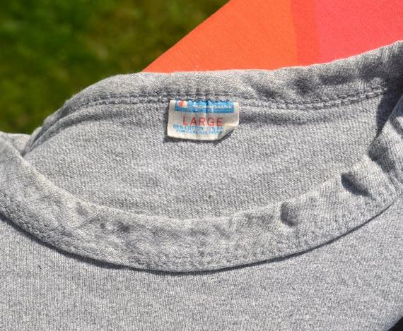 70 s vintage état de défendre la moitié t-shirt moyen champs crop top tee gris moyen t-shirt grand champion bleue bar 32fe16