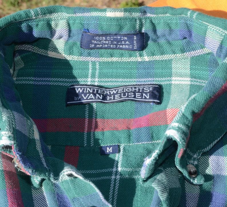 vintage 80s plaid FLANNEL shirt button down green van heusen Medium preppy