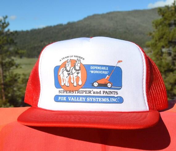 2c0bfebf63c 80s vintage trucker mesh hat SUPERSTRIPER fox valley field