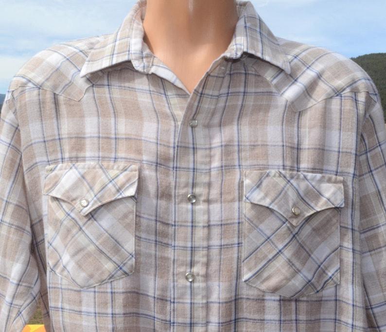 a6fb5ec7 Vintage 80s western shirt plaid KARMAN soft brown pearl snaps | Etsy