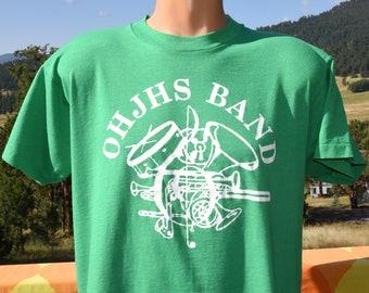 vintage 80s tee OHJHS school band music t-shirt XL Large screen stars
