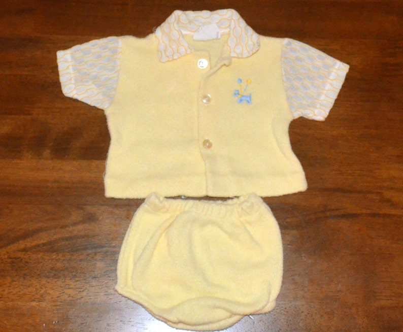 55e99ff0a395 Vintage 70s newborn baby outfit yellow shirt dog diaper cover