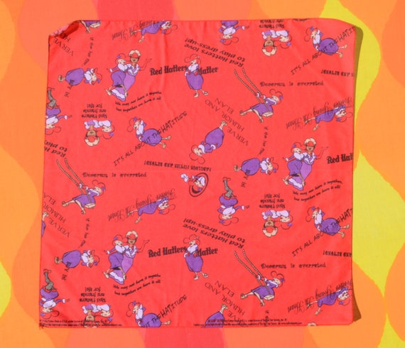 92790702619 90s vintage bandana RED HAT lady society hatters scarf