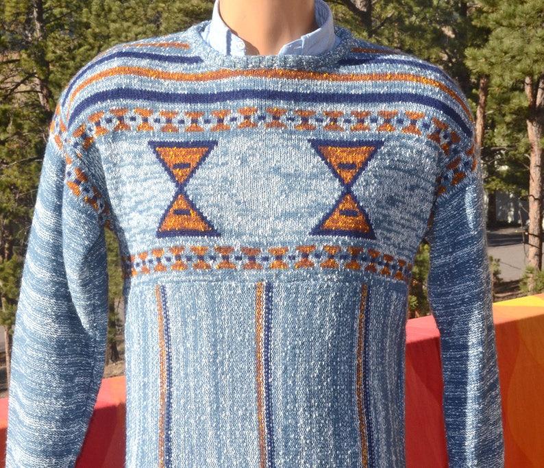 Vintage 70s sweater SPACE DYE native knit blue stripe esprit  424a3640d
