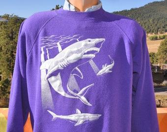 vintage 80s sweatshirt SHARKS great white crewneck Large XL hanes