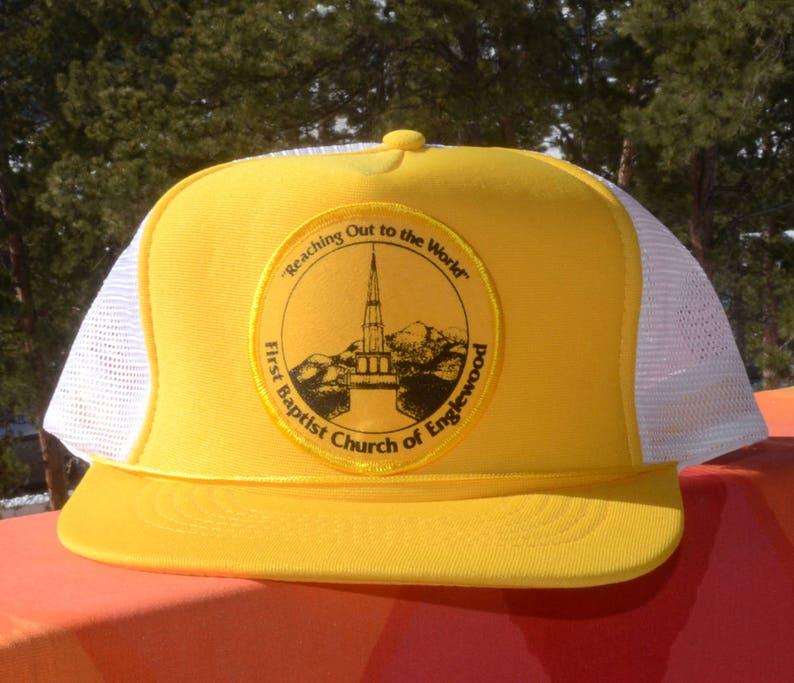 14fb84628 80s vintage trucker snapback hat ENGLEWOOD first baptist church patch  yellow mesh baseball cap
