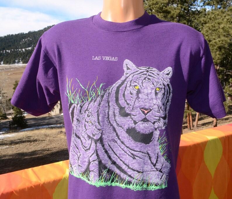 vintage 80s tee LAS VEGAS tiger cat animal neon t-shirt Large Medium 90s
