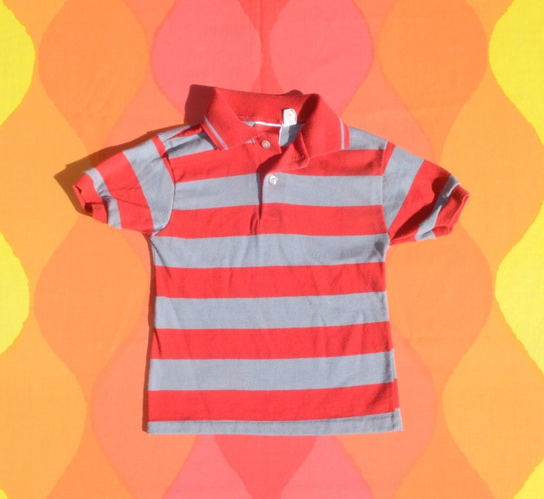 2630d81412bb Vintage 80s kids golf shirt STRIPES polo red gray youth