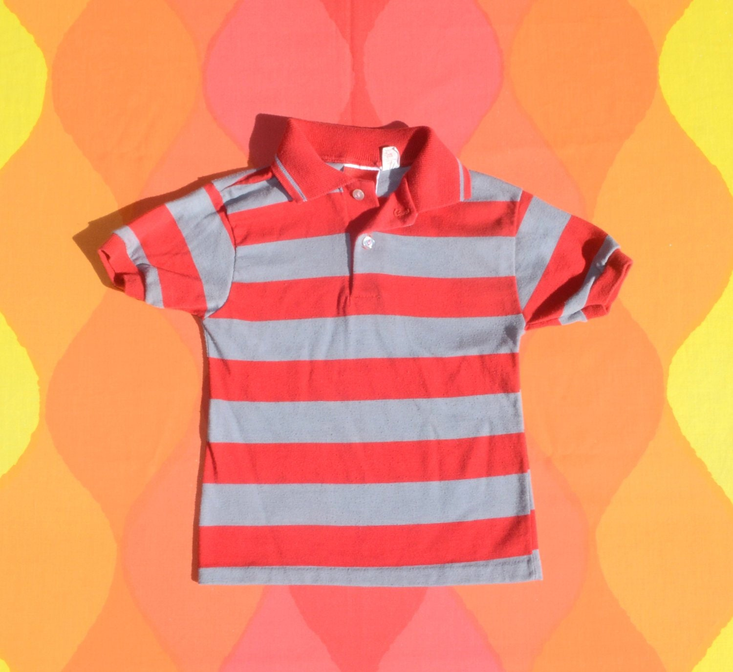 Vintage 80s Kids Golf Shirt Stripes Polo Red Gray Youth Etsy