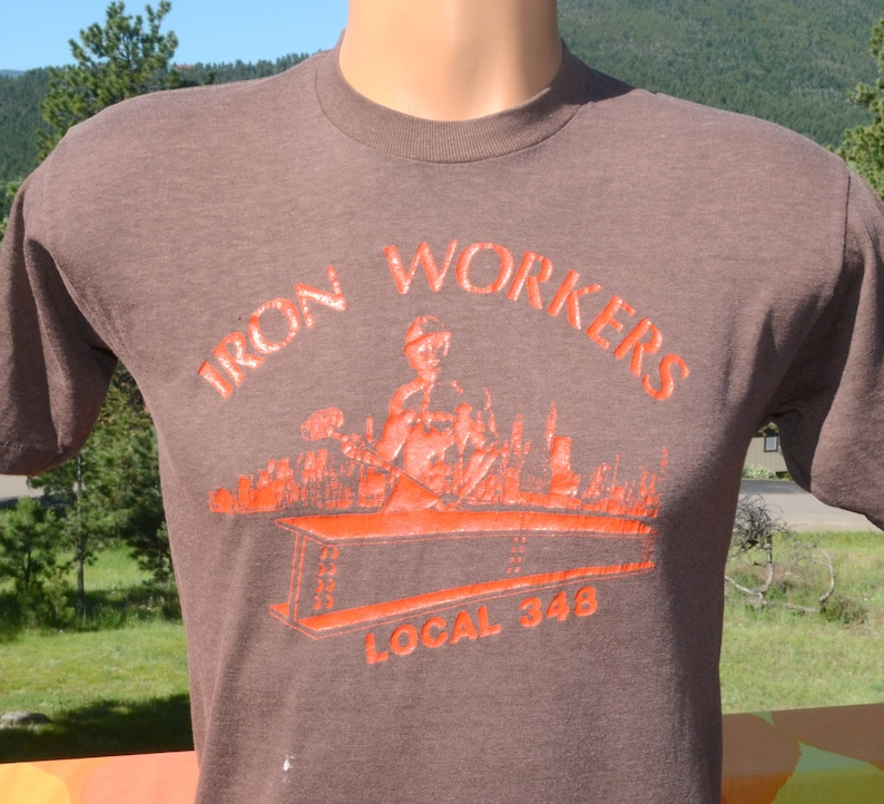 vintage 70s t-shirt IRON WORKERS labor union local 348 tee Medium Large  soft thin