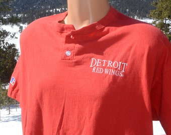 vintage 80s t-shirt detroit RED WINGS hockey nhl red henley tee XL  90s